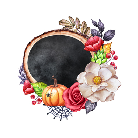 watercolor Thanksgiving card design, flowers, pumpkin, wooden slice, round chalkboard banner, farm harvest, Halloween illustration, autumn, fall holiday clip art isolated on white background