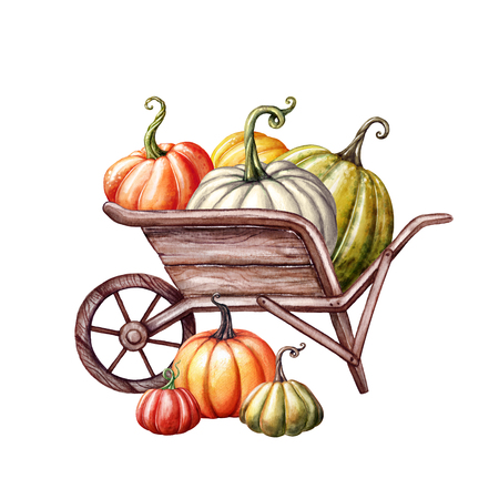 watercolor pumpkins in the wheelbarrow, Thanksgiving, farm harvest, Halloween illustration, autumn design, fall, holiday clip art isolated on white background