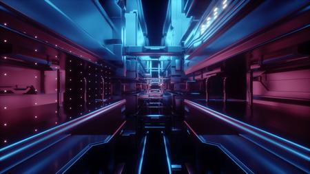 Render 3D, fondo geométrico urbano abstracto, interior de la sala futurista, estación urbana, estructura geométrica, túnel, pasillo, abejón, almacenamiento de datos grandes, seguridad cibernética, realidad virtual Foto de archivo - 89582071