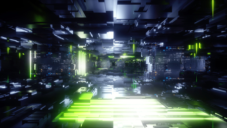 3d render, abstract urban black background, futuristic green neon light glow, geometric construction