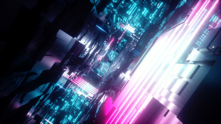 3d render, abstract urban geometric background, futuristic pink blue neon light, geometric structure, big data storage, cyber safety, virtual reality
