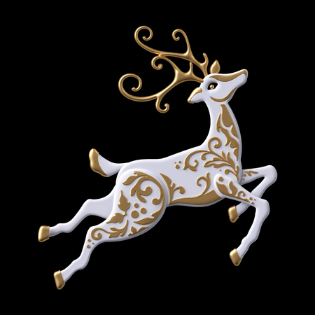 3d render, digital illustration, Christmas reindeer clip art, decorative stag,  embossed gold ornament, jumping white deer, isolated on black background Stock Photo