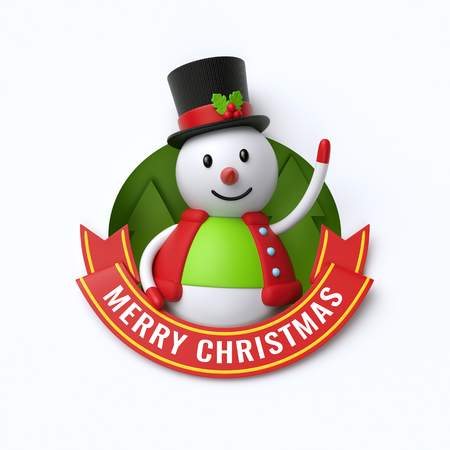 3d render, Merry Christmas text, cute snowman, cartoon character, red ribbon, greeting card, banner, isolated on white background Stock Photo