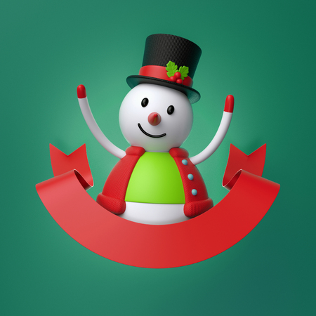 3d render, cute Christmas snowman, cartoon character, red ribbon, greeting card template, copy space, blank banner, green background Stock Photo