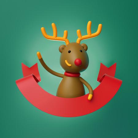 3d render, cute Christmas deer character, cartoon Reindeer, red ribbon, greeting card template, copy space, blank banner, green background Stock Photo
