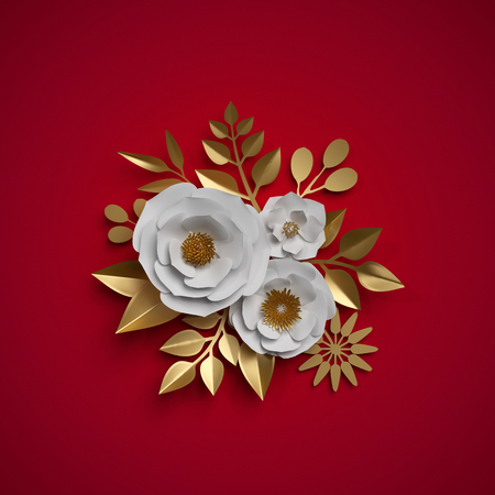 3d render, paper flowers, floral bouquet, red white gold botanical background, Christmas decoration