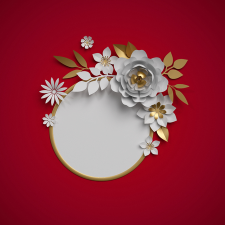 3d render, white gold paper flowers, botanical decor, round frame, red background, blank card template, Christmas decoration