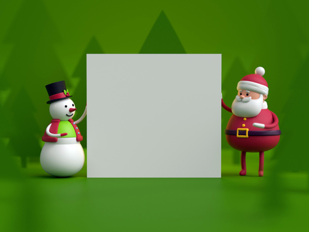 3d render, snowman and Santa Claus, toys holding blank card, Happy New Year, greeting text, snowy forest, Christmas green background