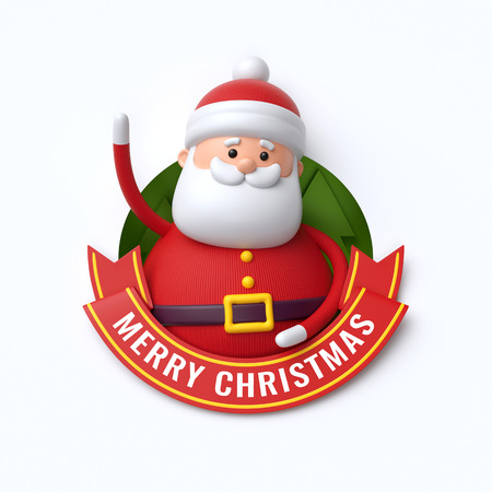 3d render, Merry Christmas text, cute Santa Claus, cartoon character, red ribbon, greeting card, banner, isolated on white background