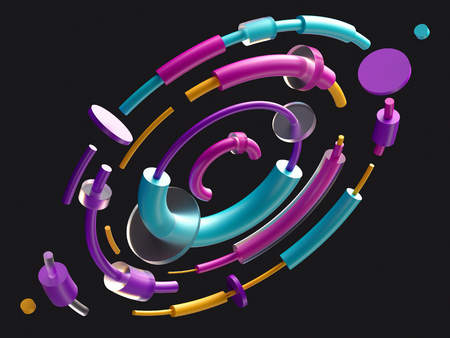 3d render, digital illustration, abstract colorful elements, orbits, black  background, isolated colorful geometric shapes