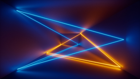 3d render, laser show, night club interior lights, blue yellow glowing lines, abstract fluorescent background, room, corridor Stok Fotoğraf - 93388316