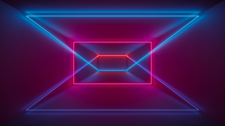 3d render, laser show, night club interior lights, red blue glowing lines, abstract fluorescent background, geometric shapes 写真素材
