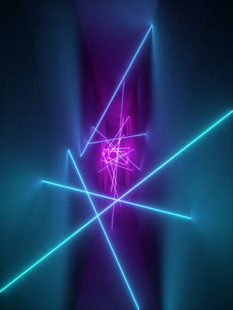 3d render, laser show, night club interior lights, violet pink blue glowing lines, abstract fluorescent background, room, corridor
