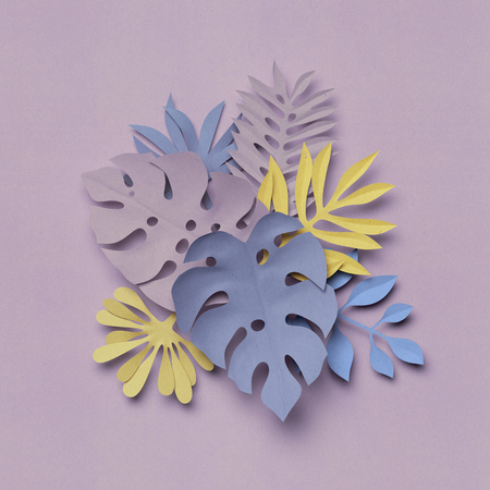 3d render, paper jungle leaves, decorative nature background, texture, lilac and yellow pastel colors Stock Photo