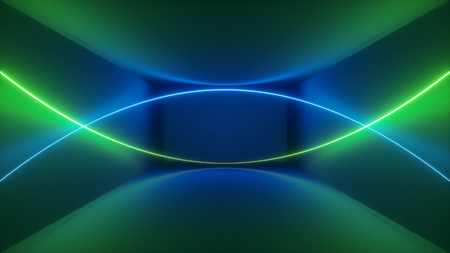 3d render, laser show, night club interior lights, green blue abstract fluorescent background, glowing curvy lines, geometric shapes