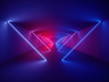 3d render, laser show, night club interior lights, glowing lines, abstract fluorescent background, corridor 免版税图像