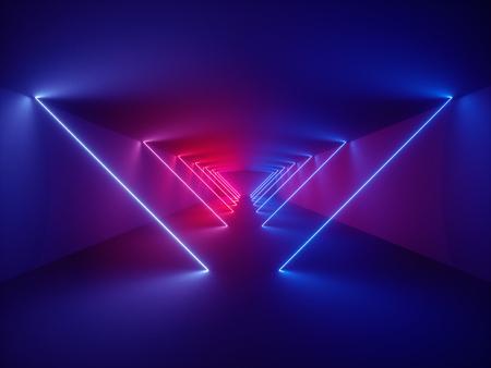 Render 3d, pokaz laserowy, oświetlenie wnętrza klubu nocnego, świecące linie, abstrakcyjne tło fluorescencyjne, korytarz