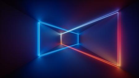 Procesamiento 3D, espectáculo láser, luces interiores del club nocturno, líneas que brillan intensamente en azul rojo, fondo fluorescente abstracto, sala, corredor