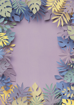 3d render, decorative paper leaves, jungle nature, paper texture, blank frame