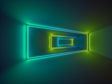 3d render, laser show, night club interior lights, green glowing lines, abstract fluorescent background, room, corridor