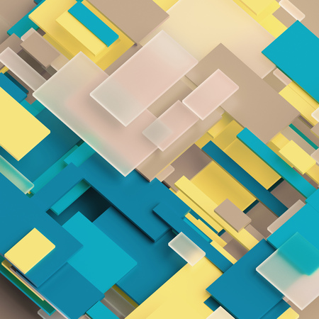 3d render, digital illustration, abstract geometric background, yellow and blue panels, flat layers, stripes, pattern