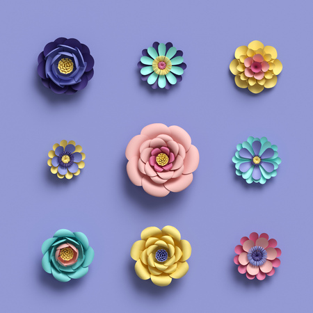 3d rendering, abstract papercraft floral isolated elements, botanical background, paper flowers set, candy pastel colors, bright hue palette