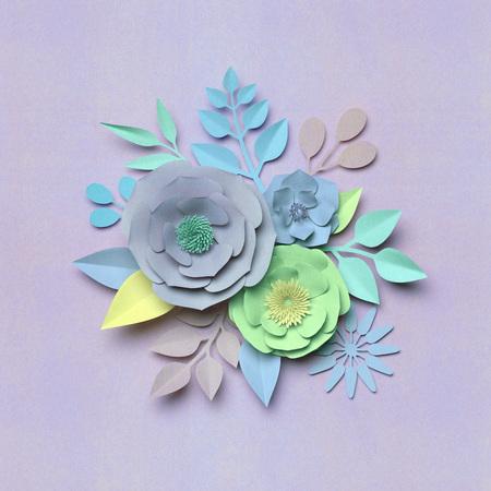 3d render, digital illustration, paper flowers, floral bouquet, nature background, pastel colors