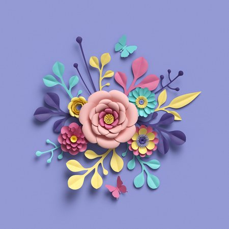 3d rendering, abstract round floral bouquet, botanical background, bridal paper flowers, pattern,  papercraft, candy pastel colors, bright hue palette Standard-Bild