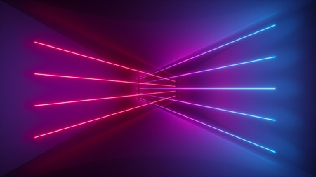 3d rendering, glowing lines, neon lights, abstract psychedelic background, ultraviolet, pink blue vibrant colors 免版税图像