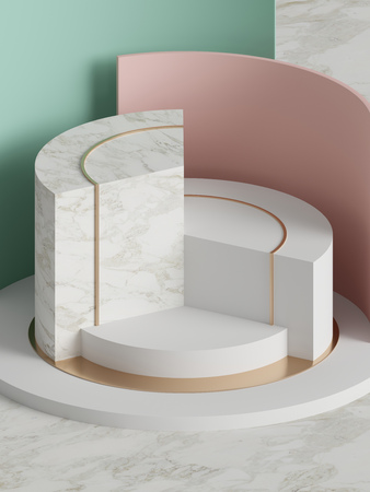 3d rendering, modern abstract geometric background, minimalistic empty showcase, art deco, primitive shapes, shop display, pastel colors Stock fotó