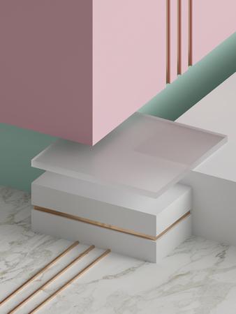 3d rendering, modern abstract geometric background, minimalistic empty showcase, art deco mock up, primitive shapes, shop display, pastel colors Foto de archivo