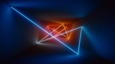 3d 렌더링, 빛나는 라인, 네온 불빛, 추상 환각 배경, 빨간색 파란색 생생한 색상, 제품 쇼케이스 템플릿, 레이저 쇼