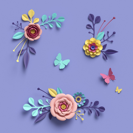 3d rendering, abstract papercraft floral isolated elements, botanical background, paper flowers, candy pastel colors, bright hue palette 写真素材