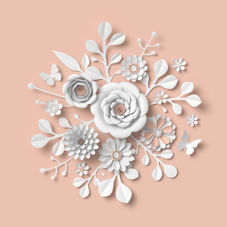 3d rendering, white paper flowers isolated on pastel peach background, isolated botanical clip art, round bouquet, round floral arrangement