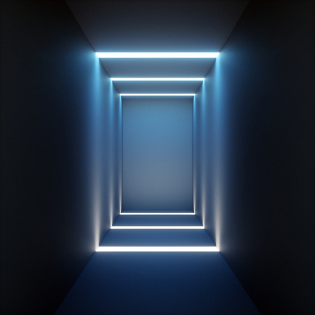 3d render of abstract illuminated empty corridor interior made of gray concrete, glowing blue lines, daylight tunnel with no exit, fluorescent background, minimalistic space Stock Photo