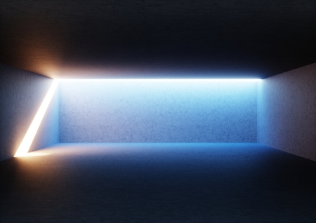 3d render, abstract empty room, illuminated empty interior, wide corridor, concrete walls, glowing light, daylight tunnel, no exit, sunlight rays, minimalistic space Foto de archivo