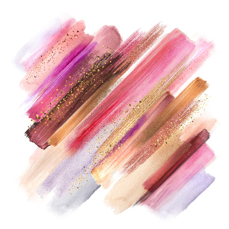 abstract paint smears isolated on white, watercolor brush strokes, fashion make up palette, sparkling shimmer, intricate ethnic background, fuchsia pink gold colors