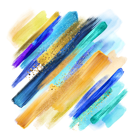 abstract paint smears isolated on white, watercolor brush strokes, creative illustration, blue yellow artistic palette, gold glitter, boho fashion, intricate ethnic background, grungy smear
