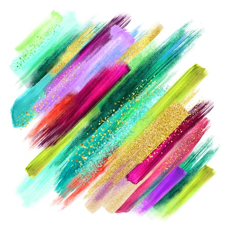 abstract watercolor brush strokes isolated on white, creative illustration, artistic color palette, boho fashion, intricate ethnic background, grungy smear, emerald green fuchsia gold