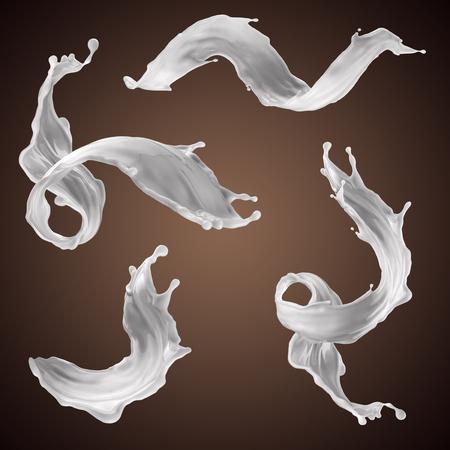 3d rendering, milk splash, drink, white liquid splashing clip art, isolated design elements, wavy jets, cooking ingredients Archivio Fotografico