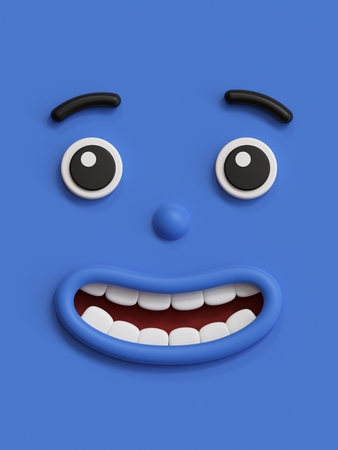 3d render, cute emotional cartoon face, shy smiley kid, adorable smile, dreamer, emoticon, blue emoji
