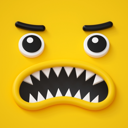 3d render, abstract emotional face icon, angry character going mad illustration, cute cartoon monster, emoji, emoticon, toy