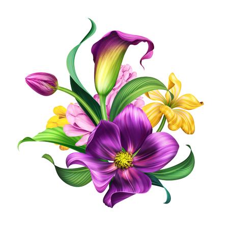 botanical illustration, beautiful flowers bouquet, floral arrangement, clip art isolated on white background
