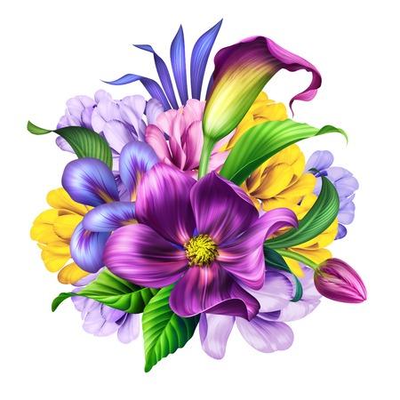 Ilustración botánica, ramo de flores hermosas, arreglo floral, imágenes prediseñadas aislado sobre fondo blanco.