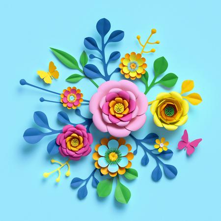 3d render, craft paper flowers, festive floral bouquet, botanical arrangement, bright candy colors, nature clip art isolated on sky blue background, decorative embellishment 写真素材