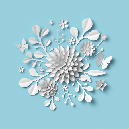 3d rendering, white paper flowers on blue background, isolated botanical clip art, round bridal bouquet, wedding wall decoration, floral arrangement Archivio Fotografico