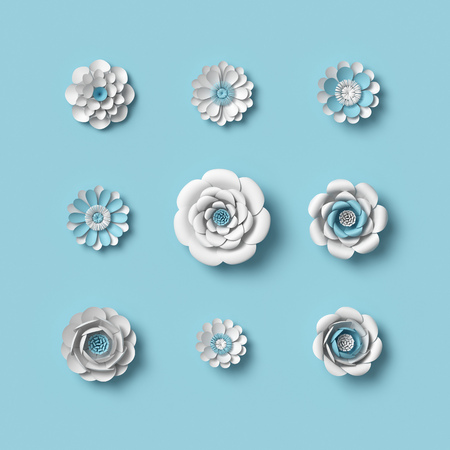 3d rendering, white paper flowers on blue background, isolated floral design elements, botanical clip art set, bridal bouquet, papercraft wedding wall decoration Фото со стока
