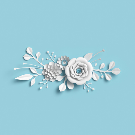 3d rendering, white paper flowers on blue background, isolated botanical clip art, bridal bouquet, wedding wall decoration, floral border