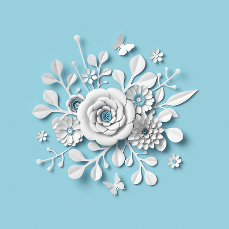 3d rendering, white paper flowers on blue background, isolated botanical clip art, round bridal bouquet, wedding wall decoration, floral design Stock Photo
