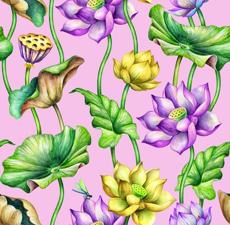 seamless botanical pattern, watercolor floral background, pink and yellow lotus flowers, tropical leaves, fashion textile design, oriental garden nature Stock Photo